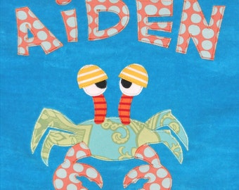 Personalized Large Turquoise Velour Beach Towel with Crab, Pool Towel, Kids Bath Towel, Camp Towel, Baby Towel, Bridal Party Gift, Swim