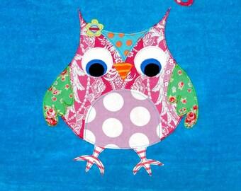 Personalized Large Turquoise Velour Beach Towel with Cute Owl, Pool Towel, Kids Bath Towel, Camp Towel, College Towel, Baby Towel, Swim