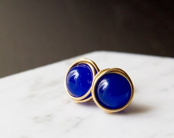 Big Brilliant Cobalt Blue Wire Wrapped Stud Earrings - Gold