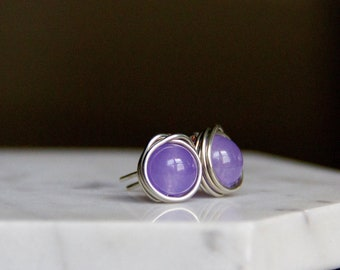 Sweet & Smooth Lilac Stone Earrings - Silver-Plated Wire-Wrapped Studs