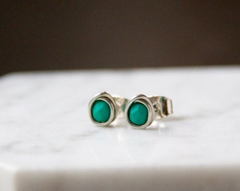 Vibrant Teal-Green Matte Finish Beaded Earrings - Wire Wrapped Studs in Silver
