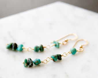 Rustic Turquoise Stones Wire Wrapped into 14k Gold Filled Dangle Earrings
