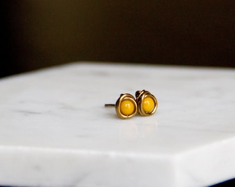 Tiny Shiny Mustard Earrings - Wire Wrapped Beaded Studs in Antiqued Brass