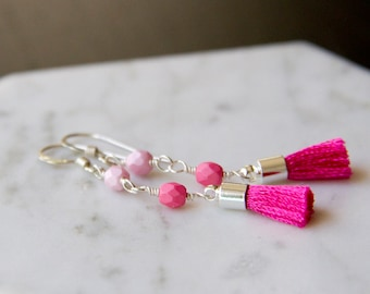 Hot Pink Ombré Fringe Earrings in Sterling Silver