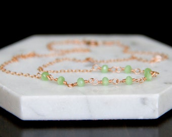 Tiny Shining August Birthstone Necklace - Rose Gold Fill Wire-Wrapped Chinese Crystal Beaded Necklace