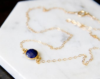 Minimalist Birthstone Necklace on a 14k Gold Chain - Faceted and Bezel-set Lapis Lazuli