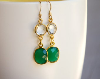 Vibrant Green Onyx and Sparkling Crystal Quartz Earrings set in 14k Gold Fill