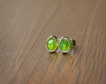 Apple Green Czech Glass Beads Wire Wrapped into Bright and Cheerful Stud Earrings with Silver Wire