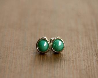 Shimmering Aqua Set of Czech Beads Wire Wrapped into Stud Earrings - Silver Wire Wrapped Earrings