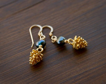 Golden Pine Cone Earrings Paired with a Cerulean Blue Freshwater Pearl