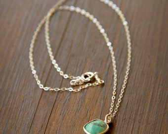 Dainty Little Square Chrysoprase Charm on a Sterling Silver Chain - Gemstone Charm Necklace