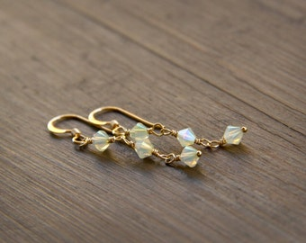 Lovely Lemon Colored Opal Swarovski Crystal Earrings Wire Wrapped with 14k Gold Fill Wire and Components