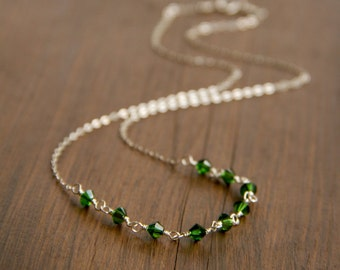 Forest Green Swarovski Beads Wire Wrapped with Sterling Silver Wire into a Delicate Sparkling Necklace