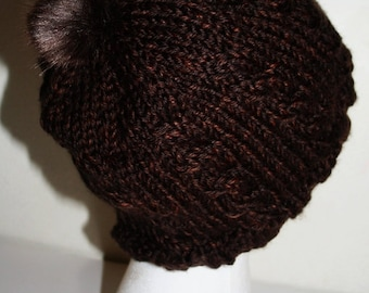 cabled knit hat with fur poof - browns, tans