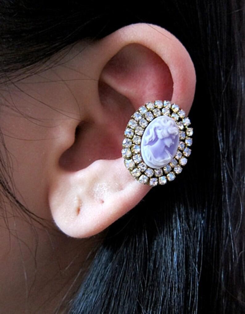 Crystal Ear Cuff Blue Victorian Earrings Jewelry Cameo Earrings Blue Ear Cuff Cameo Ear Cuff Cameo Jewelry Blue Cuff Earring