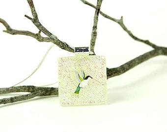 Hummingbird Dichroic Pendant- Fused Glass Jewelry- Green Dichroic Hummingbird Necklace
