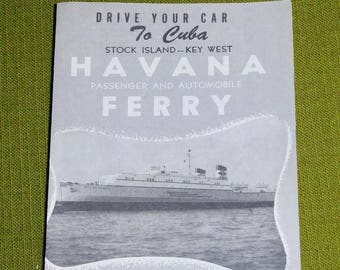 Havana Ferry Drive Your Car to Cuba 1950s Travel Brochure Key West Florida