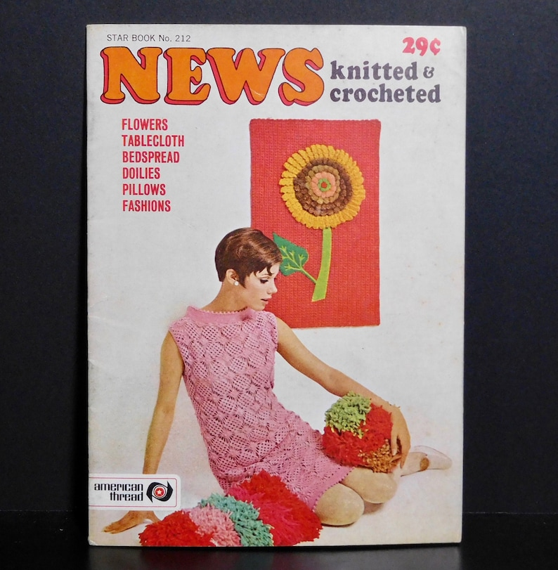 News Knitted and Crocheted Star Book No 212 Mid-Century Pillows Dresses Wall Art Rug Tablecloth
