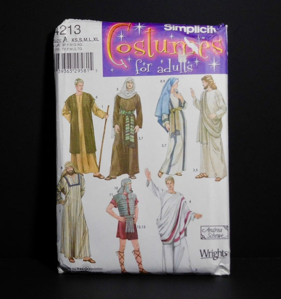 XS-XL Simplicity 4213 Historical Halloween Costume Sewing Pattern for Men and Women by Andrea Schewe Sizes A
