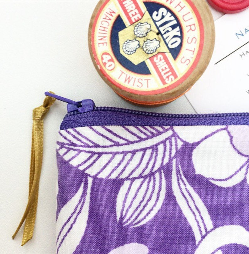 Purple Vintage Floral Fabric Coin Purse