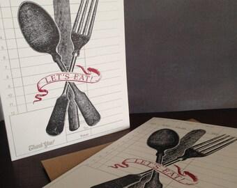 Let's Eat - 6-Pack Gocco Letterpress Dinner Invitations