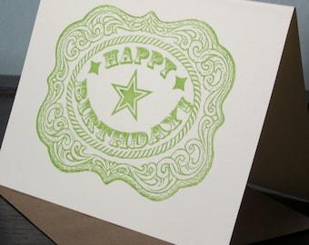 Belt Buckle - Gocco Printed Birthday Card