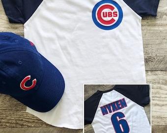 bb6a95e2d4b Custom Personalized Name Birthday Jersey Boys Chicago Cubs Cubbies Bear  Baseball T Short Sleeve Shirt Baby Uniform Tee Infant Toddler Kid