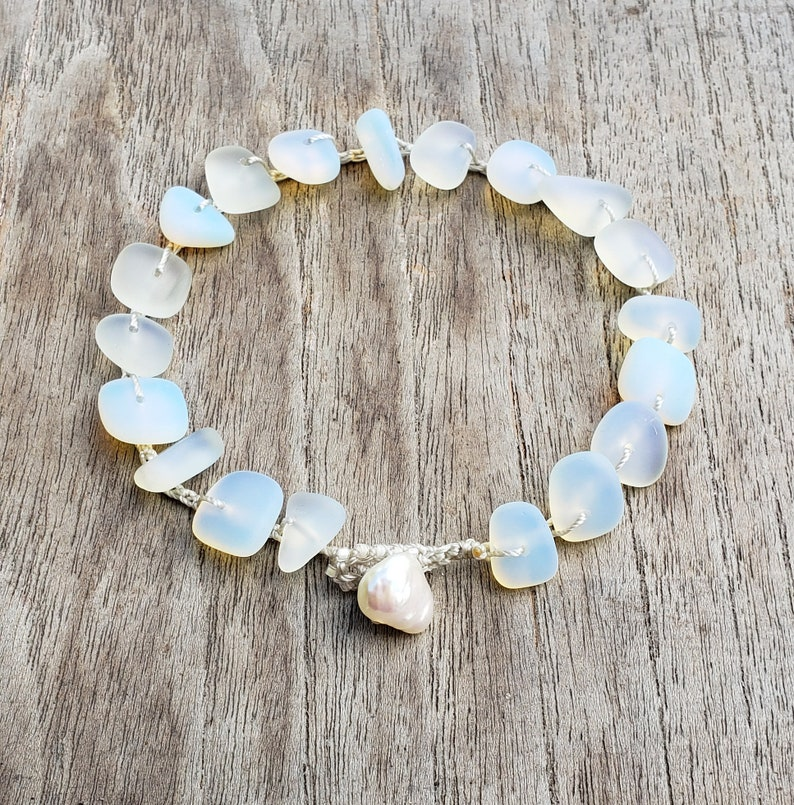 White Opal Cultured Sea Glass Beach Wedding Anklet Mermaid image 0