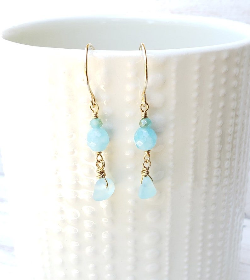 Cultured Sea Glass Jewelry Aqua Blue Dangle Earrings image 0