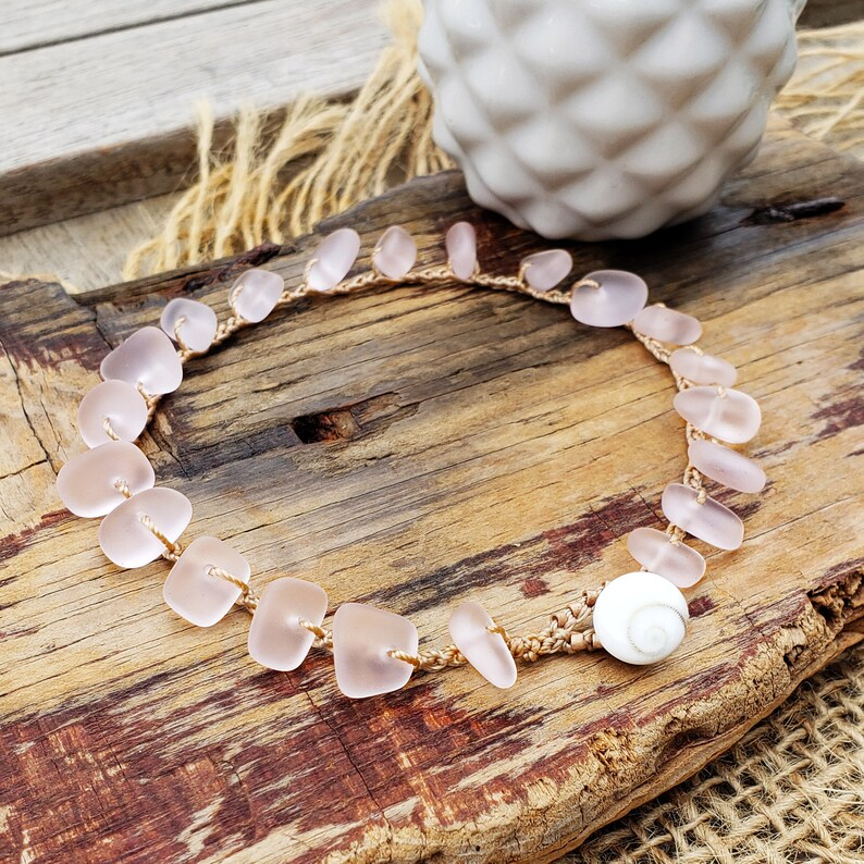 Pink Cultured Sea Glass Anklet Crochet No Metal Jewelry image 0