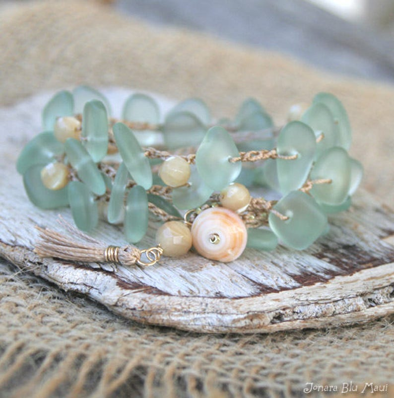 Cultured Sea Glass Beach Glass Crocheted Bracelet Wrap Beachy image 0