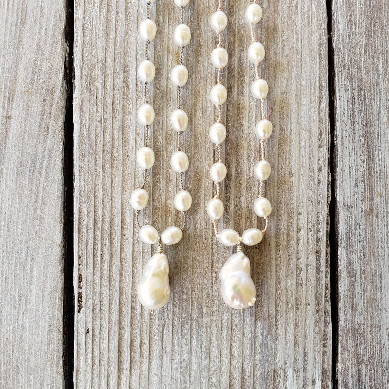 Beach Bride White Teardrop Baroque Pearl Silk Knotted image 0