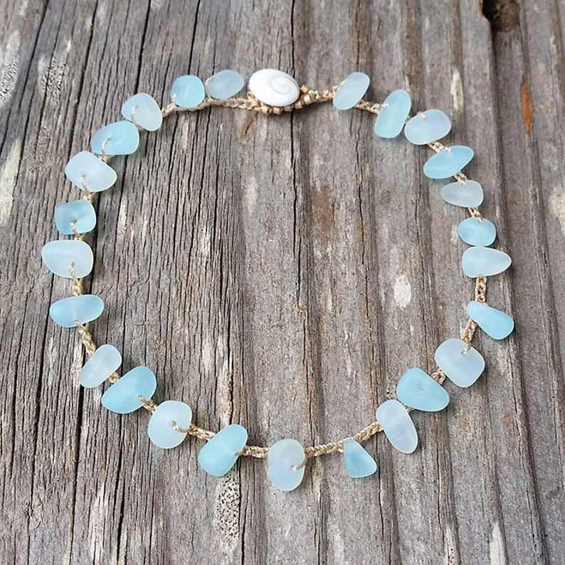 Aqua Cultured Sea Glass Anklet Non Metal Jewelry Only Zinc image 0