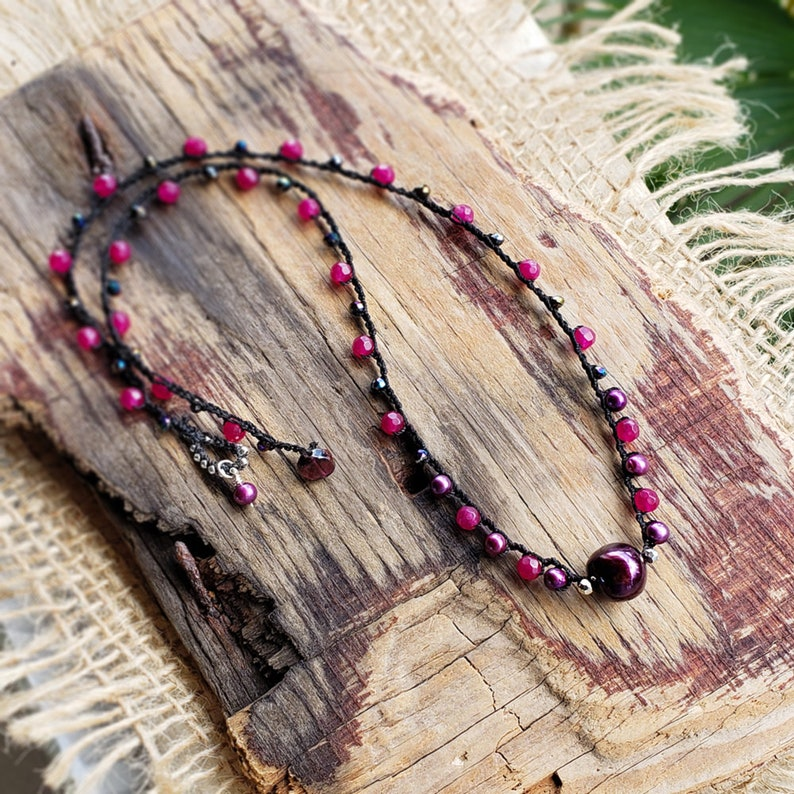 Cherry Wine Burgundy Pearl Beaded Crochet Cord Necklace Ruby image 0