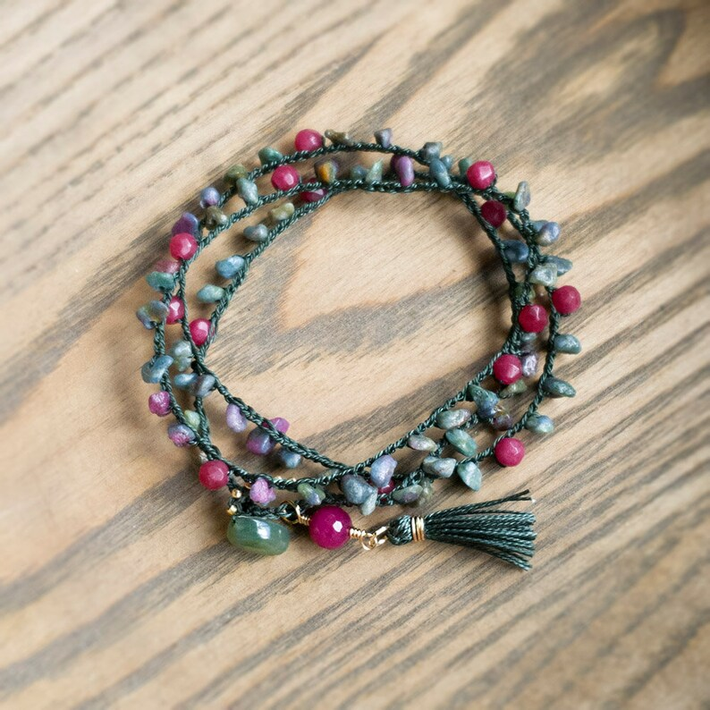 Autumn Green and Ruby Red Beaded Boho Wrap Bracelet with image 0