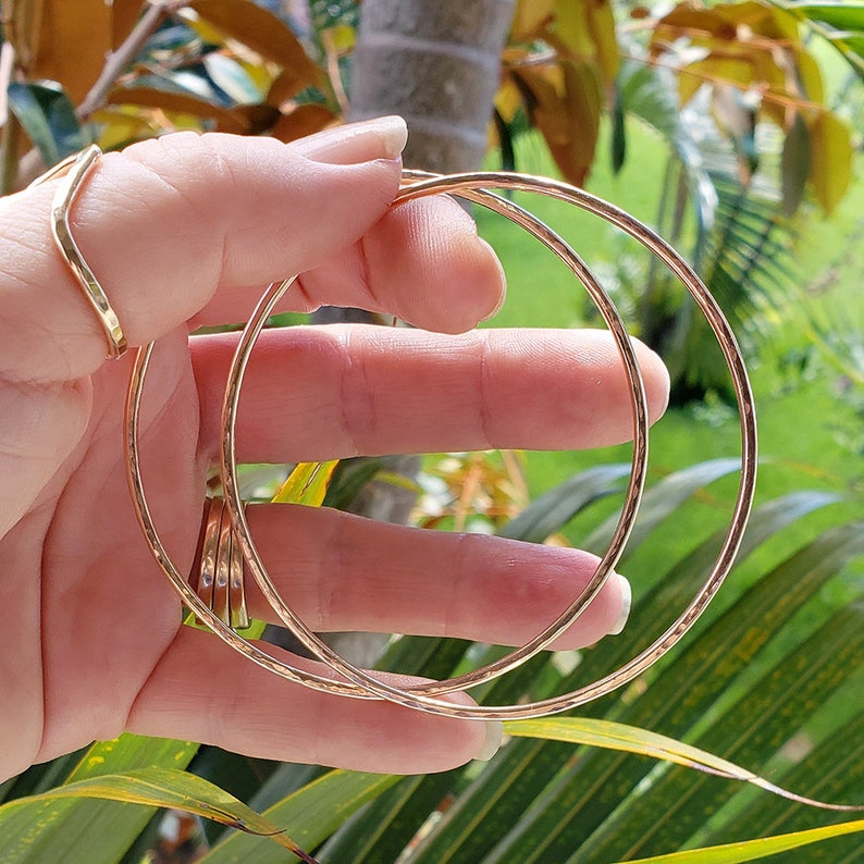 Plain 14k Gold Filled Hammered Bangle Bracelet made in Hawaii image 0