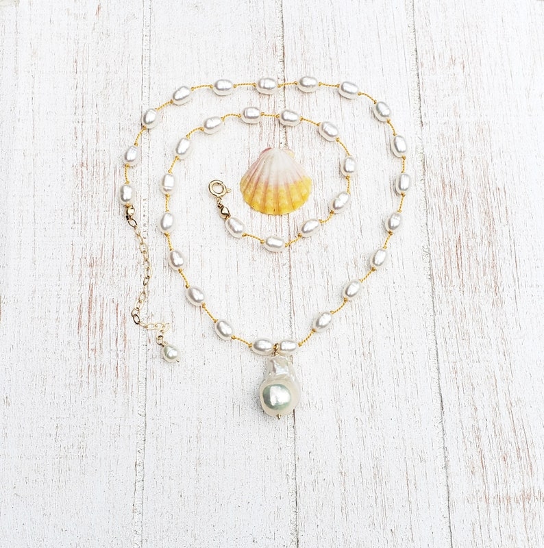 White Teardrop Baroque Pearl Yellow Silk Knotted Necklace image 0