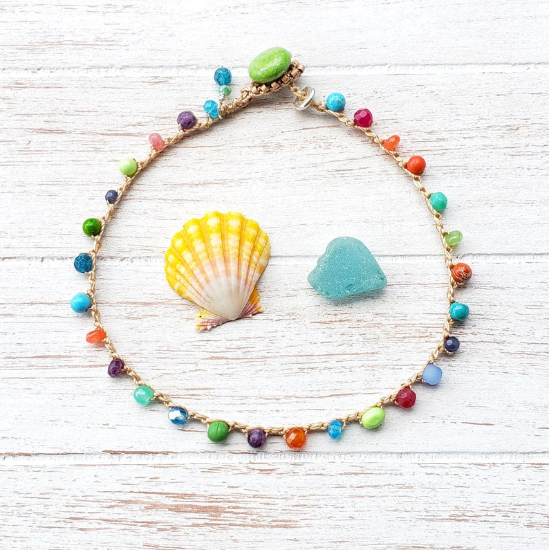 Summer Beaded Crochet Anklet Multi Gem Colorful Boho Jewelry image 0