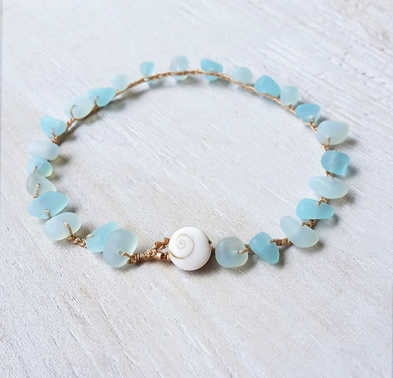 Non Metal Jewelry Only Zinc Made in Maui Hawaii Aqua Cultured Sea Glass Anklet Hippie Ocean Lovers Gift Crochet Mermaid Beach Bride