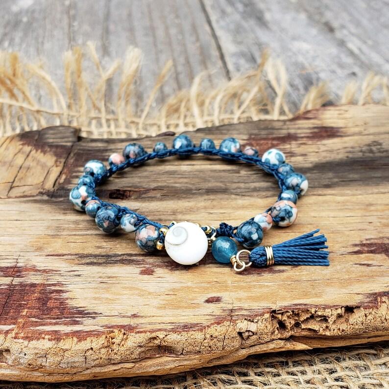 Beachy Boho Beaded Crochet Blue and White Bracelet Rain image 0