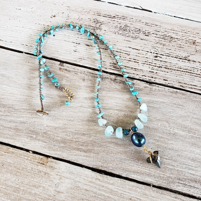 Crocheted Boho Summer Turquoise and Shark Tooth Necklace image 0