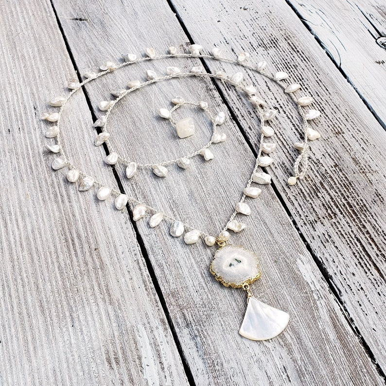 Luxe long Crochet Boho Necklace with Keshi Pearls and Gold image 0