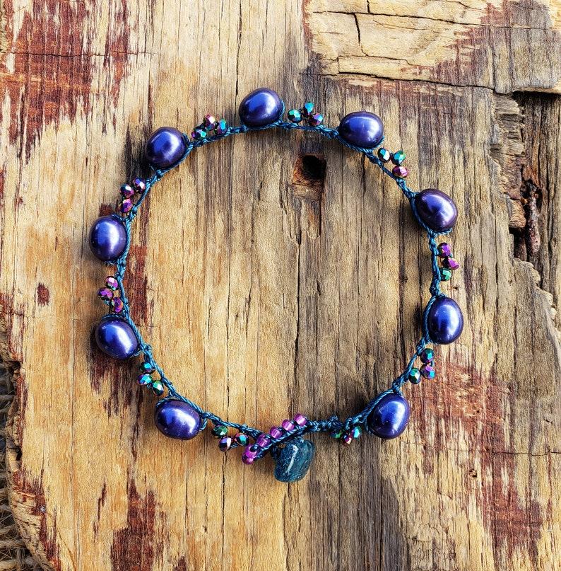 Purple Pearl Crochet Stackable Bracelet Sparkling Mermaid image 0
