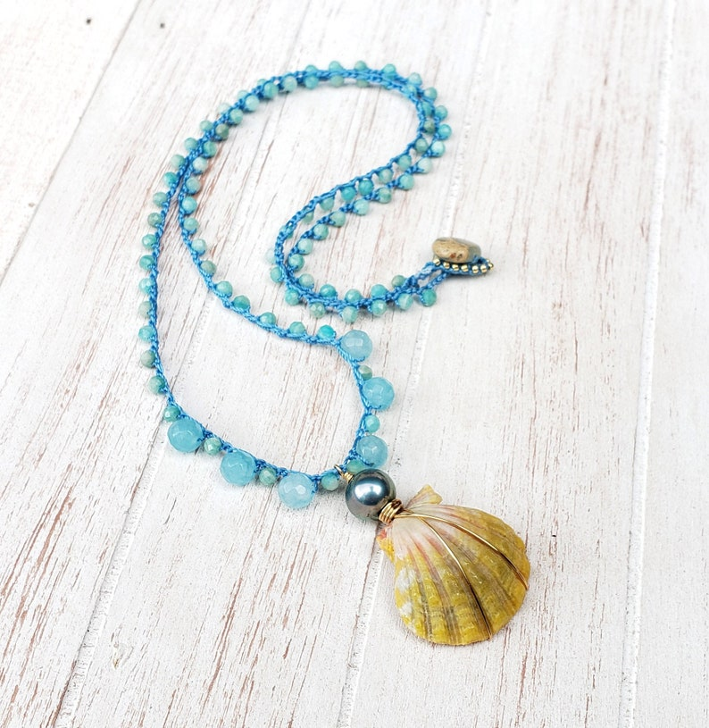 Aqua Blue Crocheted Hawaii Sunrise Shell Necklace Long Boho image 0