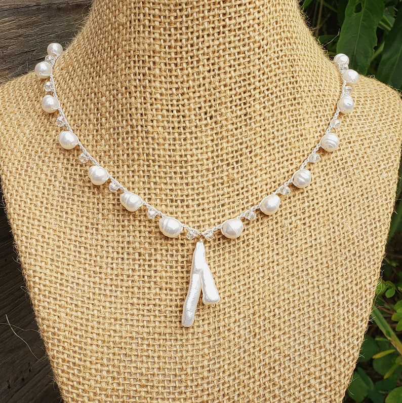 White Mermaid Beach Bride Jewelry Baroque Stick Pearl Beaded image 0