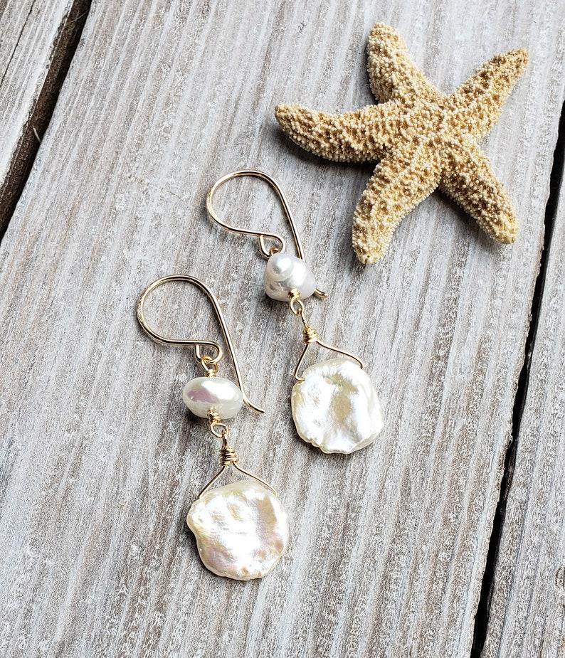 Beach Bride White Petal Keshi Pearl Earrings Beachy Boho image 0