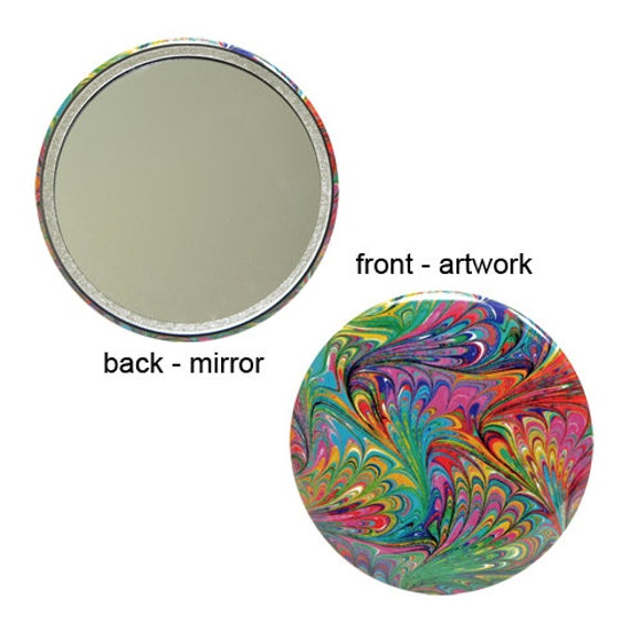 1e83b447 Marbled Pocket Mirror 11 Bright Crayon Colors Marbled Paper   Etsy