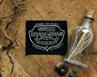 """Mistress Weatherwax School of Witchcraft - 4x3"""" Screen Printed Sew-On Art Patch"""