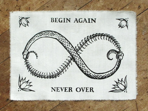 Begin Again 7x5 Leather Screen Printed Sew-On Art Patch
