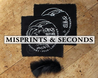 """SECONDS SALE Crows Before Bros - 4x4"""" Screen Printed Sew-On Art Patch"""